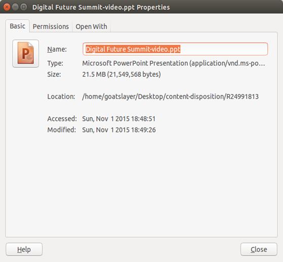 Downloaded Object Metadata Dialog