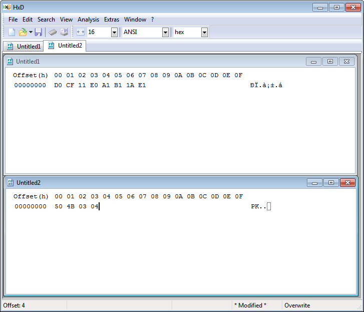 Magic Numbers Shown in Hex Editor