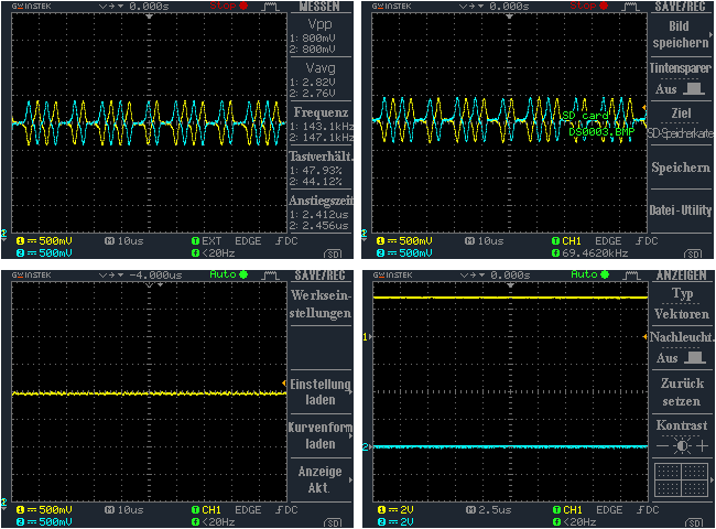 Different oscilloscope readings