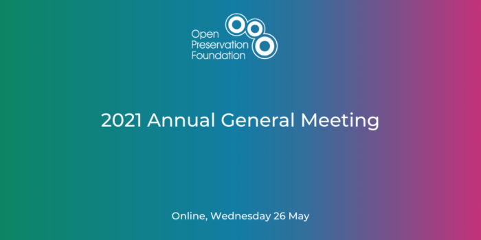 OPF AGM 2021. Wednesday 26 May.